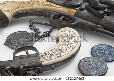 ancient pistols - stock photo