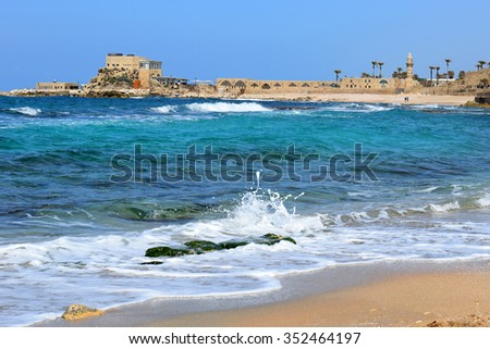 ancient port  in Caesarea Maritima, Israel. harbor was built by Herod the Great at mediterranean coast of Israel - stock photo