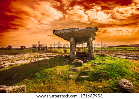 Ancient Poulnabrone Dolmen, The Burren, County Clare, Ireland - stock photo