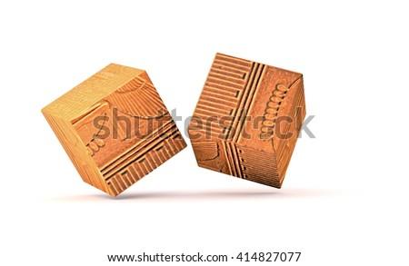 ancient puzzle - 3D illustration - stock photo