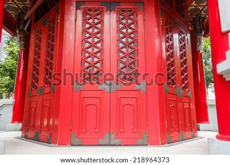 Ancient Red Chinese Temple Door - stock photo