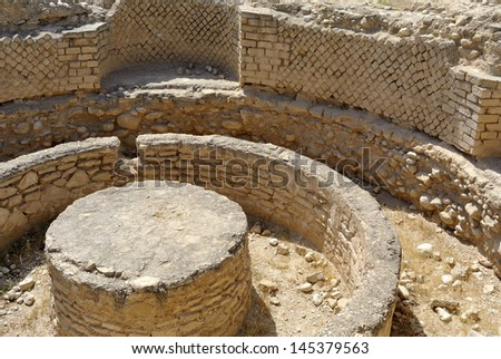 Ancient remains of Hasmonean palace near Jericho, Israel. - stock photo