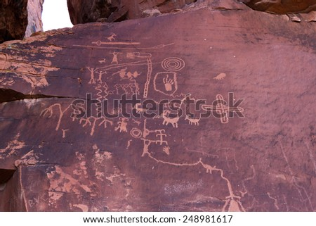 ancient rock art in southern Nevada. Valley of Fire State Park - stock photo