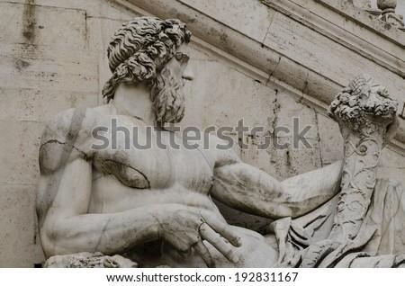 Ancient Roman allegory of Tiber River. Campidoglio, Rome, Italy - stock photo