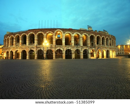 Ancient roman amphitheatre Arena in Verona, Italy at night - stock photo