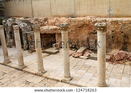 Ancient Roman Cardo street. Jerusalem. Israel - stock photo