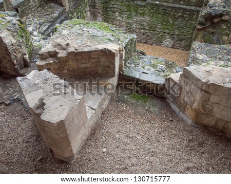 Ancient Roman City Wall ruins London UK - stock photo