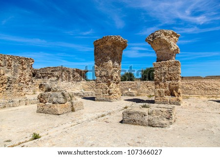 Ancient Roman Empire ruins of Carthage in near the sea in Tunis - stock photo