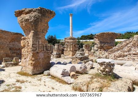 Ancient Roman Empire ruins of Carthage, villas in Tunisa - stock photo