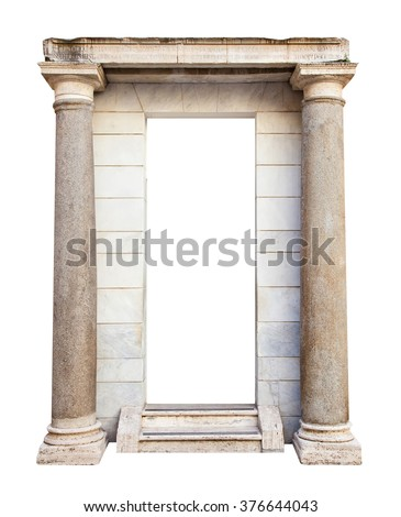 Ancient roman entrance with columns isolated on white background - stock photo