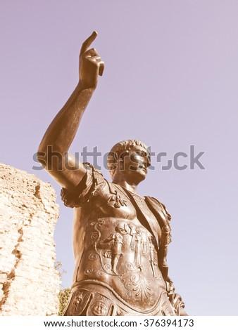 Ancient Roman monument of the Emperor Trajan London UK vintage - stock photo