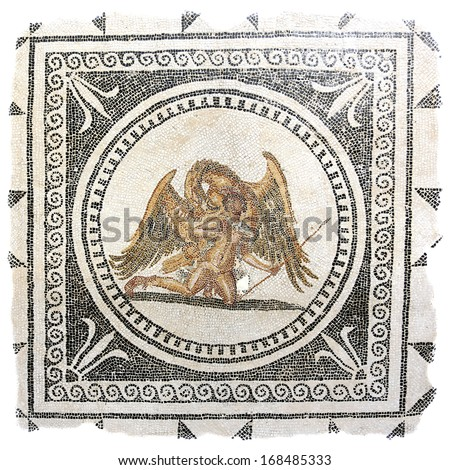 Ancient Roman mosaic from the mid 2nd century AD depicting Ganymede, a Trojan prince, being carried off by Zeus in the form of an eagle. - stock photo