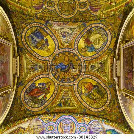 Ancient Roman mosaic: Jesus and the Evangelists - stock photo