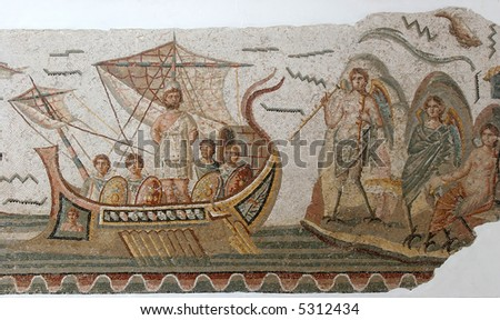 Ancient Roman mosaic located in the most famous museum in Tunis, Tunisia - stock photo