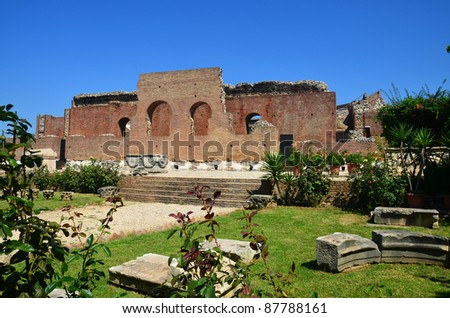 Ancient Roman Odeon in Patras Greece - stock photo