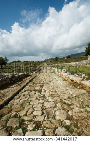 Ancient roman road, situated on the Volscian mountains, overlooking the Pontine Marshes, Italy - stock photo