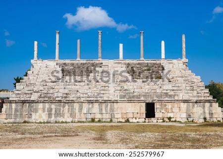 Ancient Roman ruins of Hippodrome in Tyre, Lebanon - stock photo