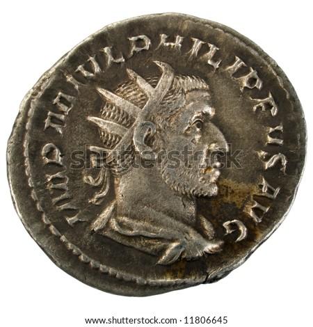 Ancient Roman silver Antoninianus coin showing Emperor Philip I - stock photo