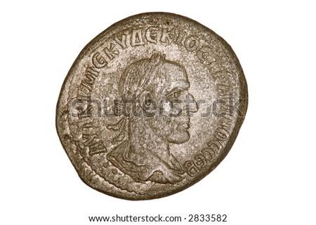 Ancient Roman silver tetradrachm coin of Trajan Decius who ruled 249-251AD. - stock photo