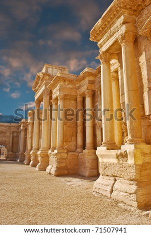 Ancient Roman time town in Palmyra, Syria. - stock photo
