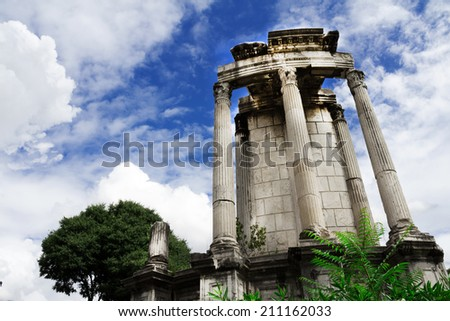 Ancient Rome ruins on bright summer day - stock photo