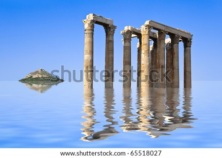Ancient ruins and island in water - abstract architecture background - stock photo