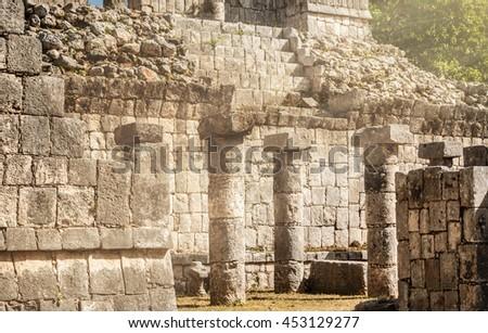 Ancient ruins at Chichen Itza in the Yucatan, Mexico - stock photo