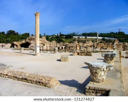 Ancient ruins in Carthage, Tunisia. - stock photo
