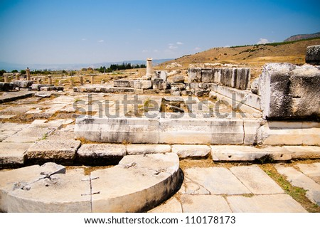 Ancient ruins in Ephesus Turkey - archeology background - stock photo