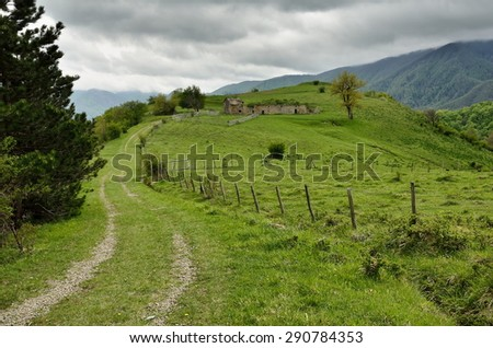 ancient ruins in San Paolo in alpe, forest Casentino, Italy - stock photo