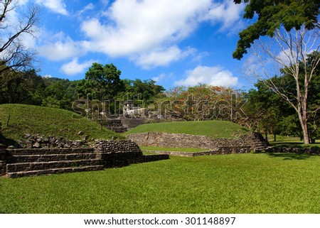 Ancient ruins in the Mayan city of Palenque Chiapas, Mexico. Ball Game Field. - stock photo