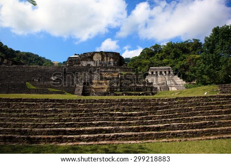 Ancient ruins in the Mayan city of Palenque Chiapas, Mexico. Inscription Temple and The Palace. - stock photo