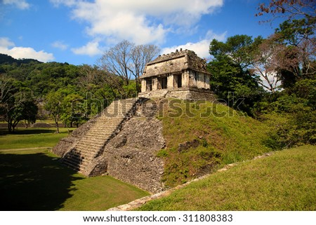 Ancient ruins in the Mayan city of Palenque Chiapas, Mexico. The Count. - stock photo