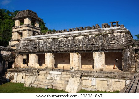 Ancient ruins in the Mayan city of Palenque Chiapas, Mexico. The Palace. - stock photo