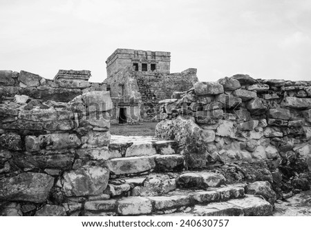 Ancient ruins in Tulum Mexico in black and white - stock photo