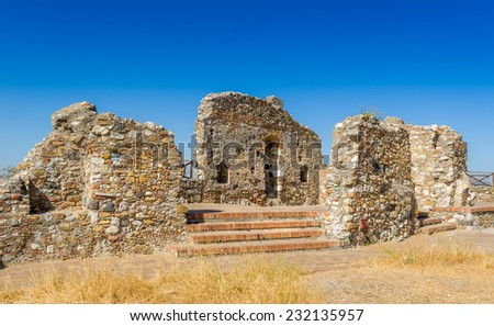 Ancient ruins near Cefalu, popular touristic city of Sicily, Italy - stock photo