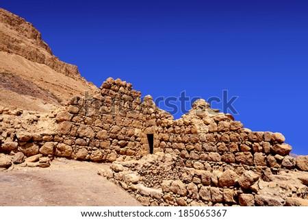 ancient ruins near Dead Sea, Israel - stock photo