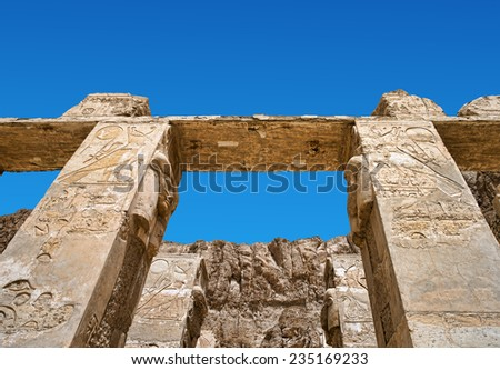 Ancient ruins of Karnak temple in Egypt - stock photo
