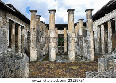 Ancient ruins of roman city Pompeii, Italy - stock photo