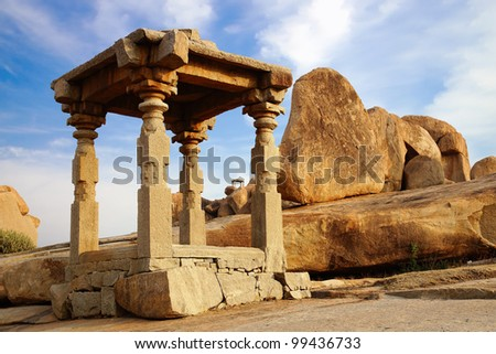 Ancient ruins of Temple. Hampi, India. - stock photo