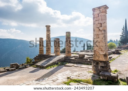 Ancient ruins of the Temple of Apollo, Greek God at Delphi. - stock photo