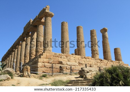 ancient ruins of the Valley of Temples at Agrigento of Sicily, unesco world heritage in Italy  - stock photo