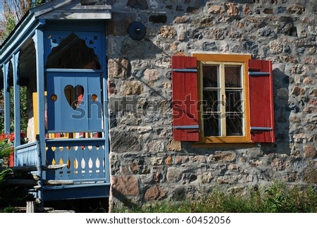 Ancient rural stone house in Quebec Canada - stock photo