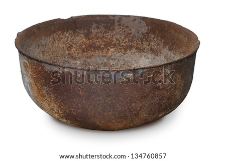 Ancient rusty bowl isolated on a white background - stock photo