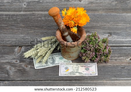 ancient rusty iron mortar and various medical herbs with dollar money on old wooden background - stock photo