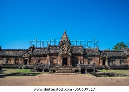 Ancient sand stone castle in history called Phanomrung castle in Thailand - stock photo