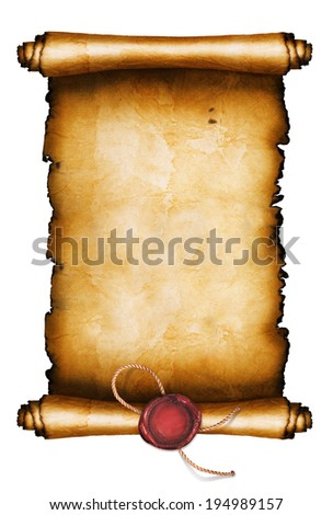 Ancient scroll isolated on white background - stock photo