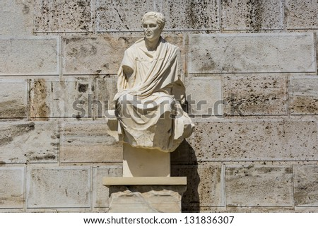 Ancient sculpture from the theatre of Dionysus below Acropolis in Athens,Greece - stock photo