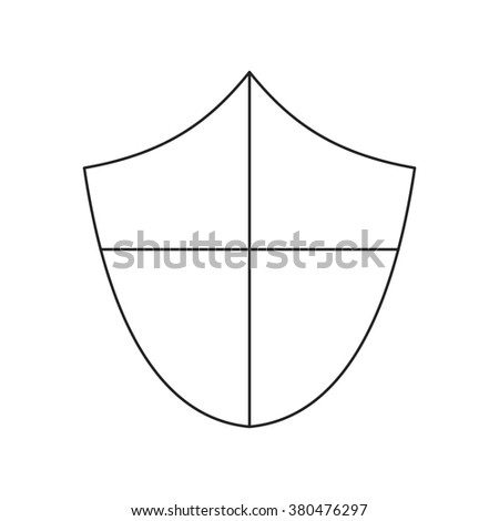 Ancient shield thin line icon - stock photo