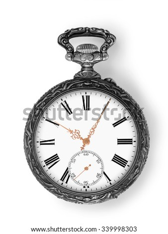 Ancient silver pocket watch with golden hands isolated on white with clipping path - stock photo